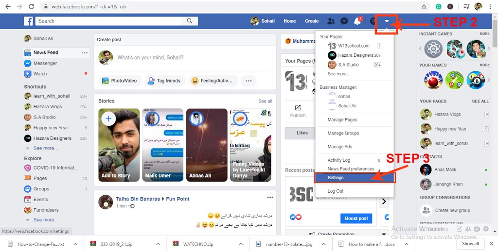 change your facebook password on pc