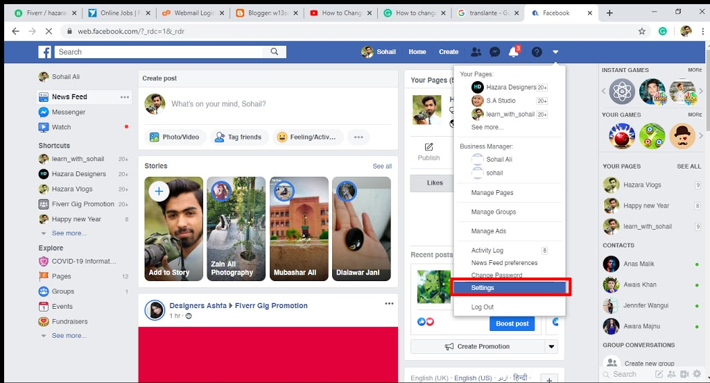 Change Your Facebook Email setting