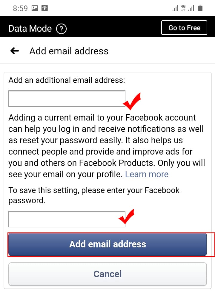 Change Your Facebook Email on laptop