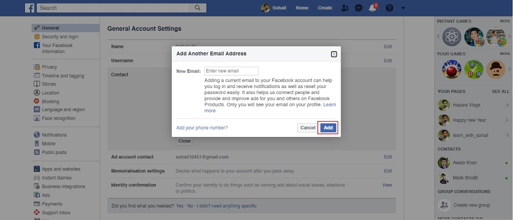 New add Change Your Facebook Email