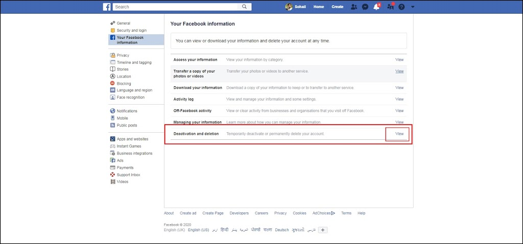 how to deactivate or Delete your Facebook account 2020 on pc