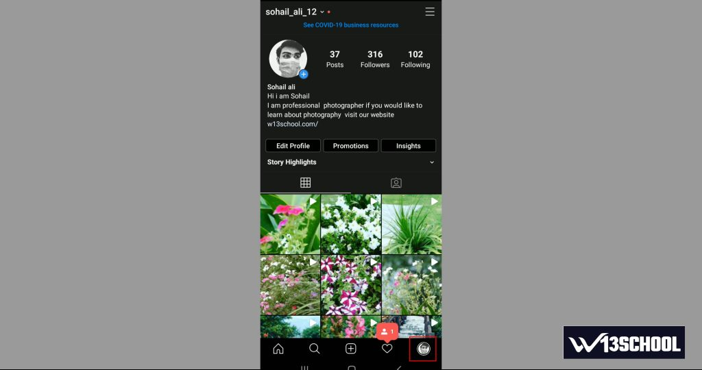 Ig profile screen for delete Instagram post