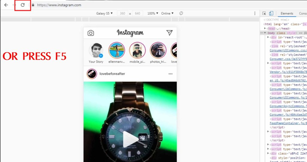 refresh the page how to post on Instagram