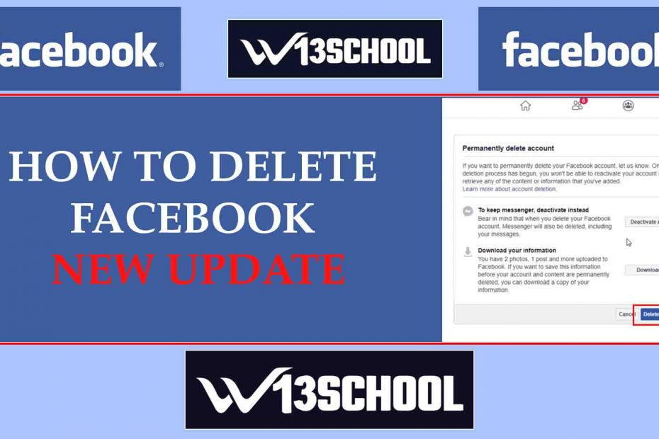delete facebook New update