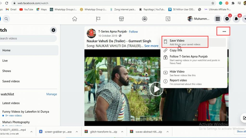 How to save the video in Facebook